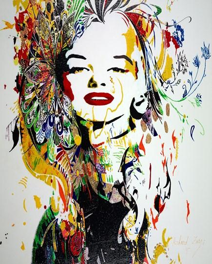 Marilyn Monroe by Richard Zarzi - Original Painting on Box Canvas